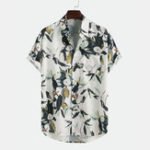 New Gardenia Print Short Sleeve Chest Pocket Shirts
