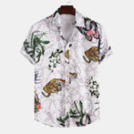 New Men Tiger Butterfly Pattern Printed Summer Short Sleeve
