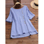 New Women Short Sleeve O-neck High Low Hem Plaid Button Blouse