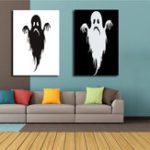 New Miico Hand Painted Combination Decorative Paintings Halloween Ghost Wall Art For Home Decoration