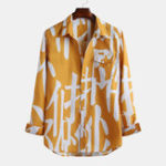 New Men Large Font Printed Chest Pocket Long Sleeve Lapel Casual
