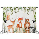 New Baby Photography Backdrop Woodland Animals Birthday Party Background Prop Vinyl Decorations