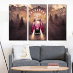 New Miico Hand Painted Three Combination Decorative Paintings Jungle Adventure Wall Art For Home Decoration