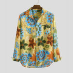 New Mens 100% Cotton Leaves Printing Long Sleeve Casual Shirts
