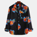 New Men Bright Flower Vintage Printed Chest Pocket Long Sleeve