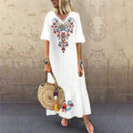 New Bohemian Floral Print V-neck Flare Sleeve Beach Maxi Dress
