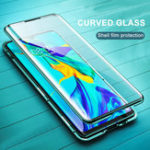 New Bakeey 360º Curved Screen Front+Back Double-sided Full Body 9H Tempered Glass Metal Magnetic Adsorption Flip Protective Case For Huawei P30 PRO