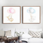New Miico Hand Painted Combination Decorative Paintings Blue And  Pink Balloon Bear Wall Art For Home Decoration