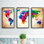 New Miico Hand Painted Three Combination Decorative Paintings Colorful World Map Wall Art For Home Decoration