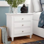 New White 3 Drawers Nightstand Wooden Closet Table Classic and Contemporary Elements