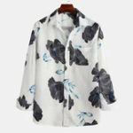 New Men Floral Print Plain Color Casual Chest Pocket Long Sleeve
