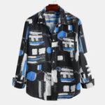 New Mens Autumn Color Block Printing Long Sleeve Casual Shirts
