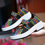 New Women Colorful Knitted  Chunky Heel Casual Sneakers