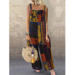 New Print Contrast Color Splice Pocket Sling Wide Leg Jumpsuit