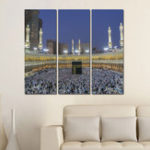 New Miico Hand Painted Three Combination Decorative Paintings Islamic Religious Wall Art For Home Decoration
