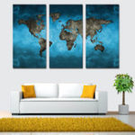 New Miico Hand Painted Three Combination Decorative Paintings Continental Map Wall Art For Home Decoration