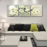 New Miico Hand Painted Three Combination Decorative Paintings Botanic Painting Wall Art For Home Decoration