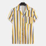 New Men Stripe Simple Style Chest Pocket Short Sleeve Revere