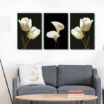 New Miico Hand Painted Three Combination Decorative Paintings Botanic White Flower Wall Art For Home Decoration