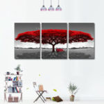 New Miico Hand Painted Three Combination Decorative Paintings Redwood tree Wall Art For Home Decoration
