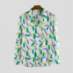 New Mens Autumn Leaves Printing Pocket Long Sleeve Casual Shirts