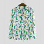 New Mens Autumn Leaves Printing Pocket Long Sleeve Casual Shirts