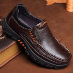 New              Men Waterproof Genuine Cow Leather Shoes