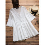 New              Women Vintage Embroidered Hollow Solid Color Blouse