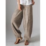 New              Women High Waist Button Solid Color Harem Pants