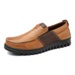 New              Men Comfy Moccasin Toe Leather Splicing Soft Casual Shoes