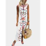New              Women Printed V Neck Summer Floral Bohemian Dress