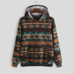 New              Mens Printed Ethnic Style Insert Pocket Hooded Sweatshirt