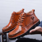 New              Genuine Leather Large Size Hand Stitching Soft Boots