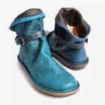 New              Women Retro Leather Buckle Belt Round Toe Flat Short Boots