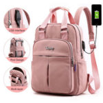 New              Women Fashion Nylon Casual Patchwork USB Backpack