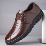 New              Pure Color Comfy Soft Sole Lace Up Casual Leather Shoes