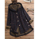 New              Women Vintage Floral Print 3/4 Sleeve High Low Button Coats