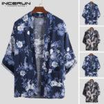 New              Mens Japanese Style Floral Cardigan Kimono Loose Coat Kimono Jacket Yukata Robe