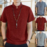 New              Men Casual Short Sleeve Stand Collar Chinese Style Button Shirts Kung Fu Top Tee