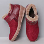 New              Warm Fur Lining Waterproof Leather Casual Ankle Snow Boots