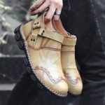 New              Menico Retro Ferrule Decoration Hand Stitching Boots
