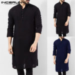 New              Men's Pakistan Kurta Kaftan Long Sleeve Pajama Ethnic Dress Shirt Blouse Top NEW