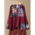 New              Ethnic Print Patchwork Irregular Long Sleeve Vintage Blouse
