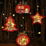 New              Christmas Decoration Hollow Wooden Pendant Night Light Tree Hanging Ornaments