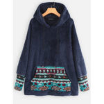 New              Ethnic Print Patchwork Fleece Long Sleeve Hoodie