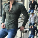 New              Mens Long Sleeve Casual Striped Dress Shirt Button Down Formal Work Tops Blouses