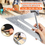 New              2pcs Aluminum Alloy 7 Inch Metric Triangle Angle Ruler Woodworking Square Layout Tool