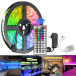 New              5M 300 LED Waterproof Strip Light String Lamp 12V 2835 SMD RGB +24/44Keys IR Controller+US Power Adaptor