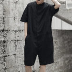 New              Men's Loose Overalls Button Up Casual Cargo Jumpsuit Pants