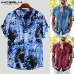 New              Men's Tie Dye Short Sleeve T-shirt Casual Floral Printed Beach Holiday Tops Tees